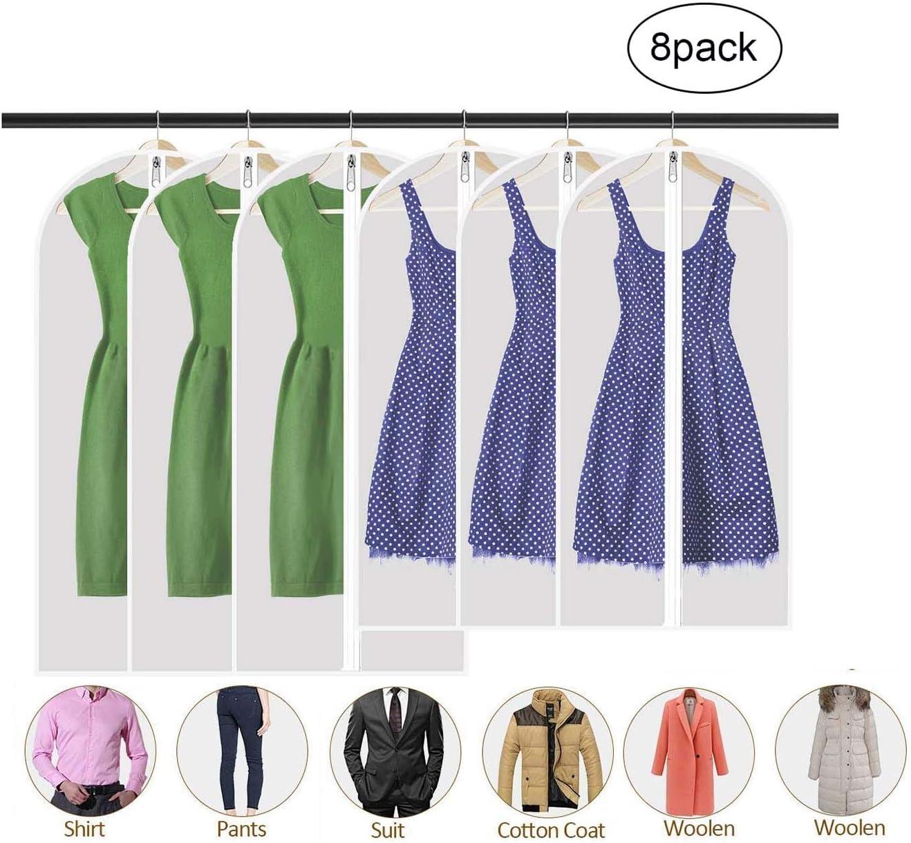 trajes de baile a prueba de polvo plegables con cremallera paquete de 8 PEVA transpirables transl/úcidas para vestidos largos 137//128 // 100cm Fundas para ropa lavables trajes abrigos,
