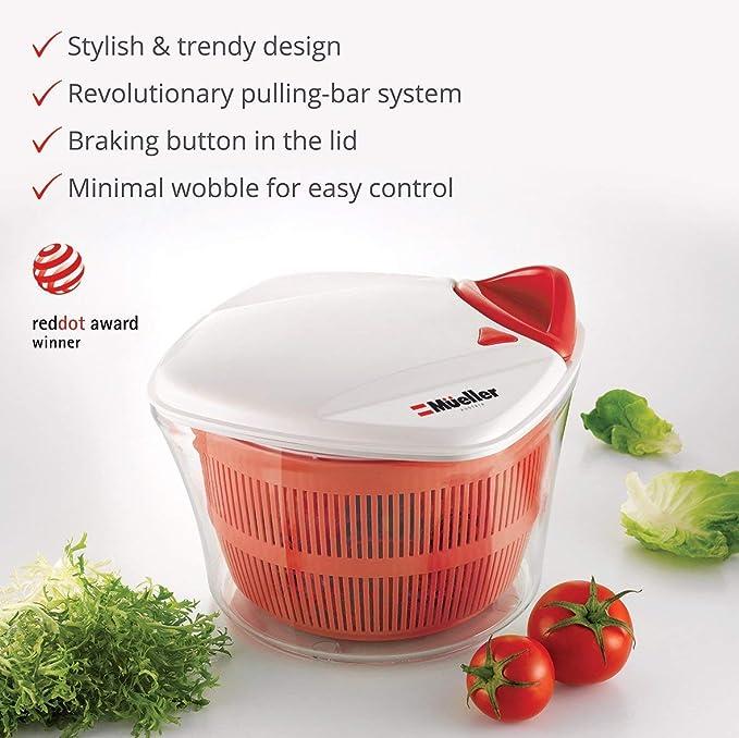 DoubleBlack Salad Spinner Washer Strainer and Dryer for Vegetables and Lettuce 4 Litre Large