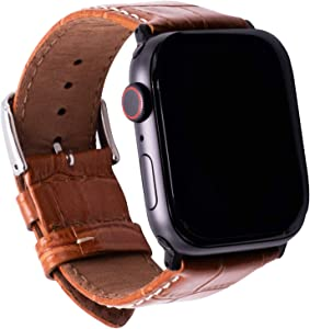 Leather Bands Compatible with Apple Watch 42mm 44mm Crocodile Grain Wristband Light Brown Leather Vintage Strap with Black Buckle iWatch Series 6/5/4/3/2/1(Light Brown)