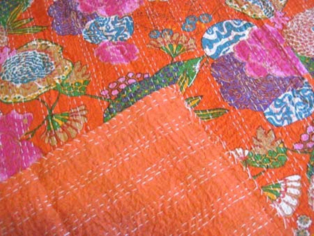 Yuvancrafts Indien Kantha Fait /à la Main Coton Lit avec Fruits et imprim/é Floral Lit Taille Double Couverture Couvre-lit Couvre-lit Gudri