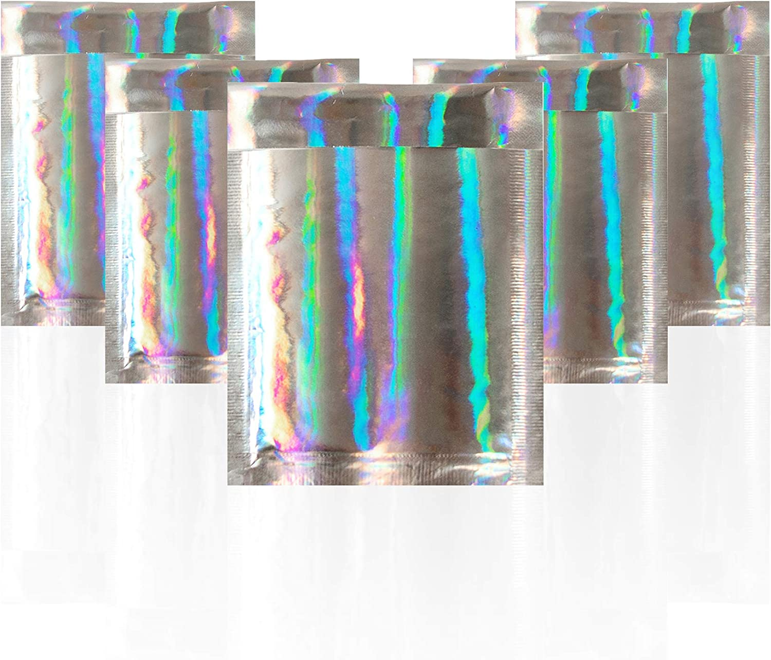 Bubble mailers 6.5 x 9 Padded envelopes 6 1/2 x 9 Pack of 10 Hologram Cushion envelopes. Peel & Seal. Holographic Glamour Metallic foil. Mailing, Shipping