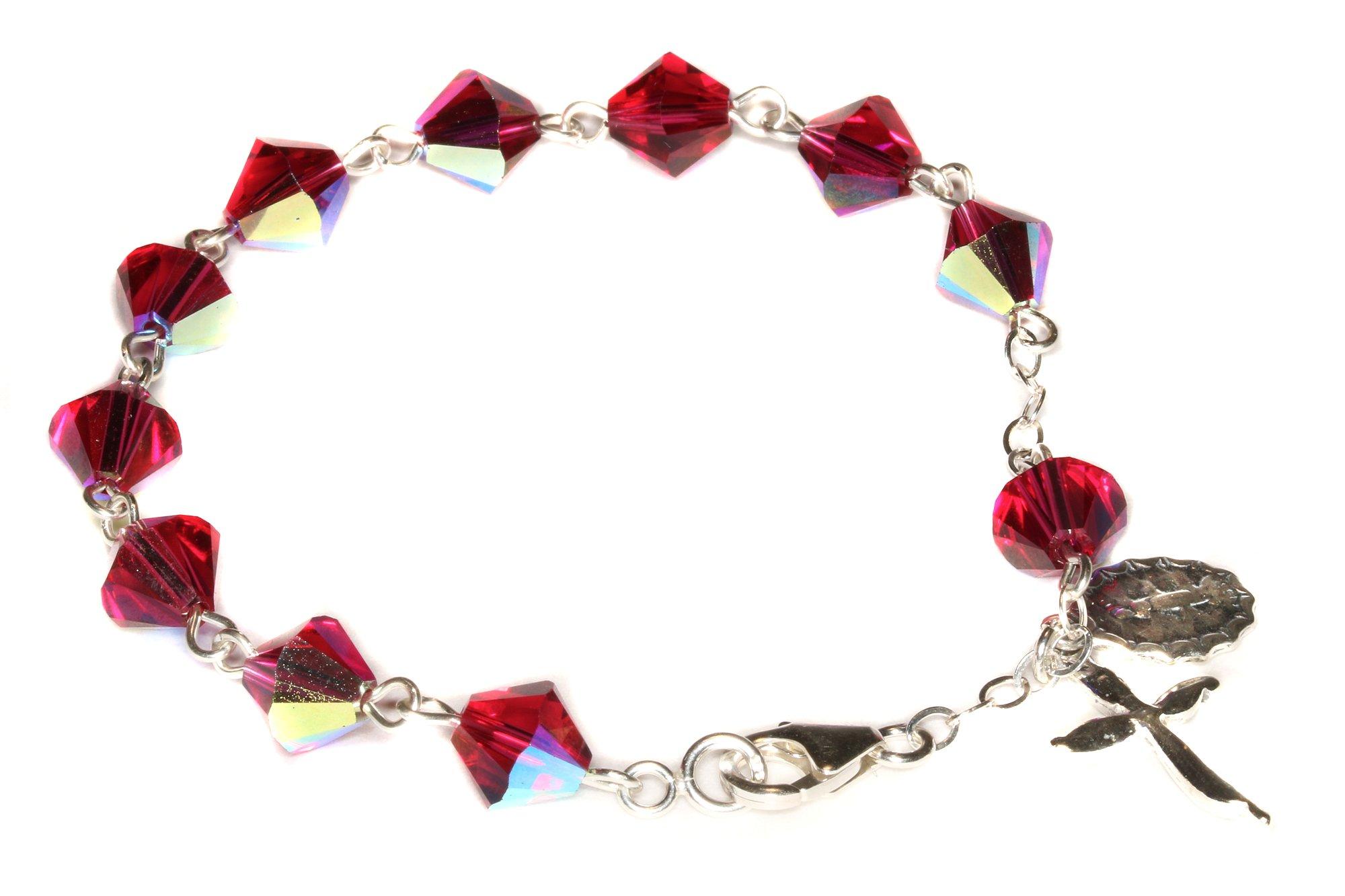 Womens Rosary Bracelet Made w/Ruby Red AB Swarovski Crystals (July) - Confirmation, RCIA, Valentine's, Birthday, More