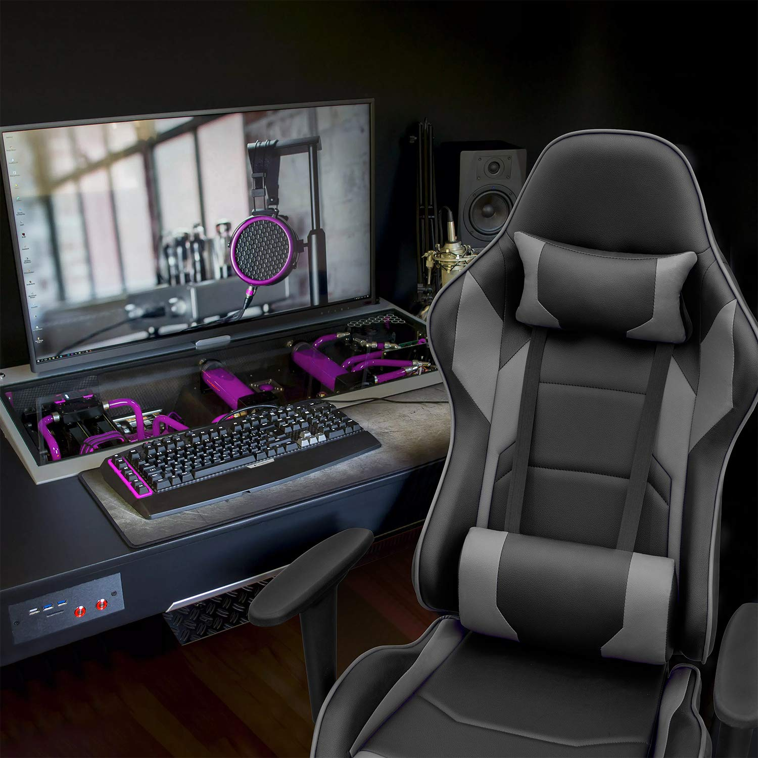 Homall Gaming Chair Racing Office Chair Computer Desk Game Chair, PU Leather Adjustable Swivel Chair Managerial Executive Chair Gray