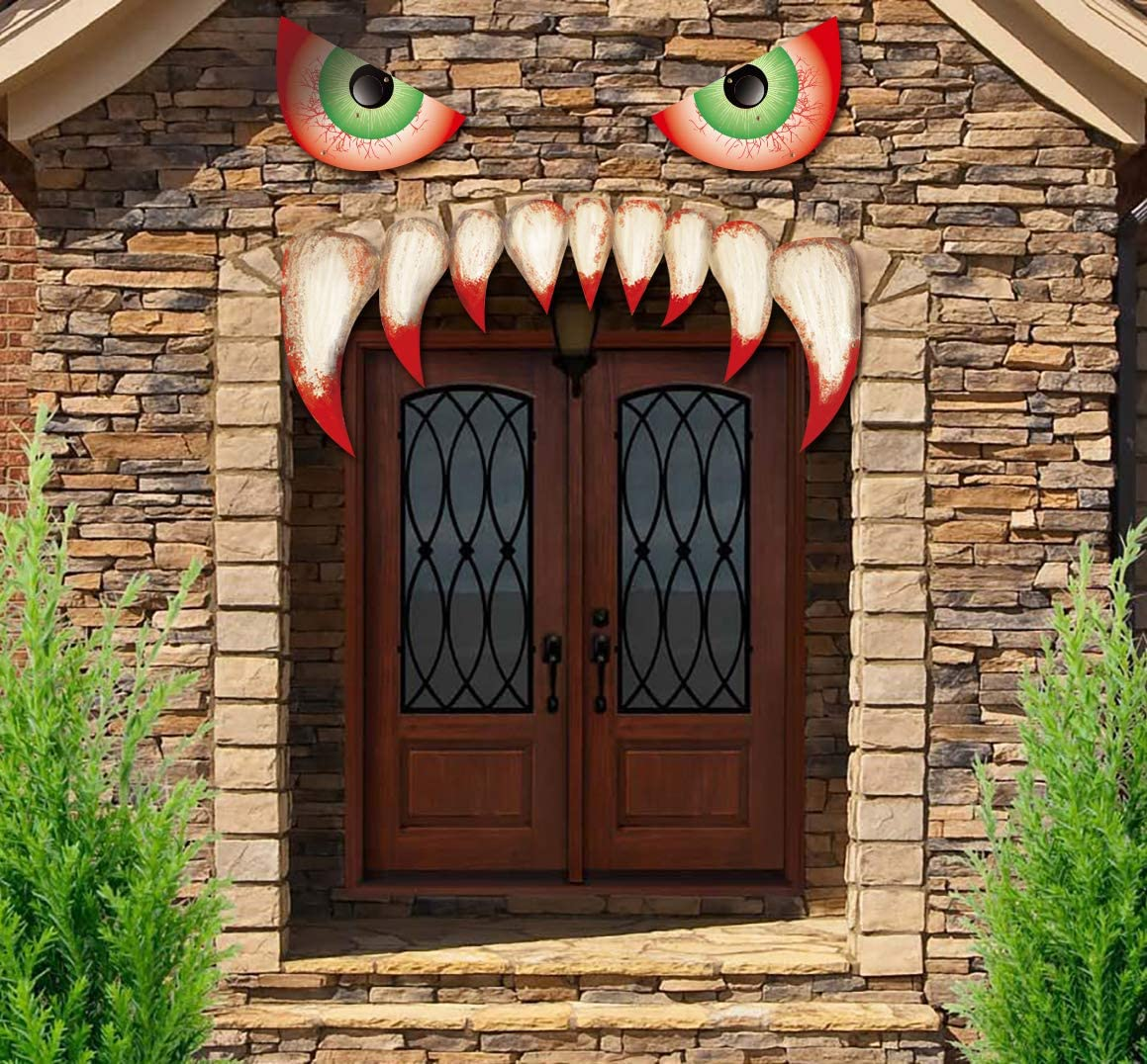 jollylife Halloween Monster Face Decorations - Outdoor Garage Door Archway Car Party Decor with Eyes Teeth Cutouts (Assembly Needed)