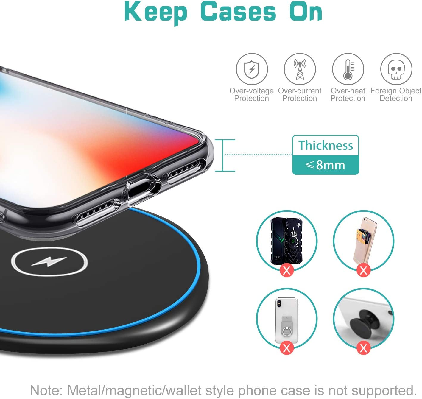 ELEGIANT 10W Wireless Charging Pad Compatible with iPhone 11//11Pro//11 Pro Max//XS MAX//XR//XS//X Wireless Charger Samsung Galaxy S20//S20Plus//S20ultra//S10//S10Plus//S10e//Note 10 and All Qi-Enabled Devices