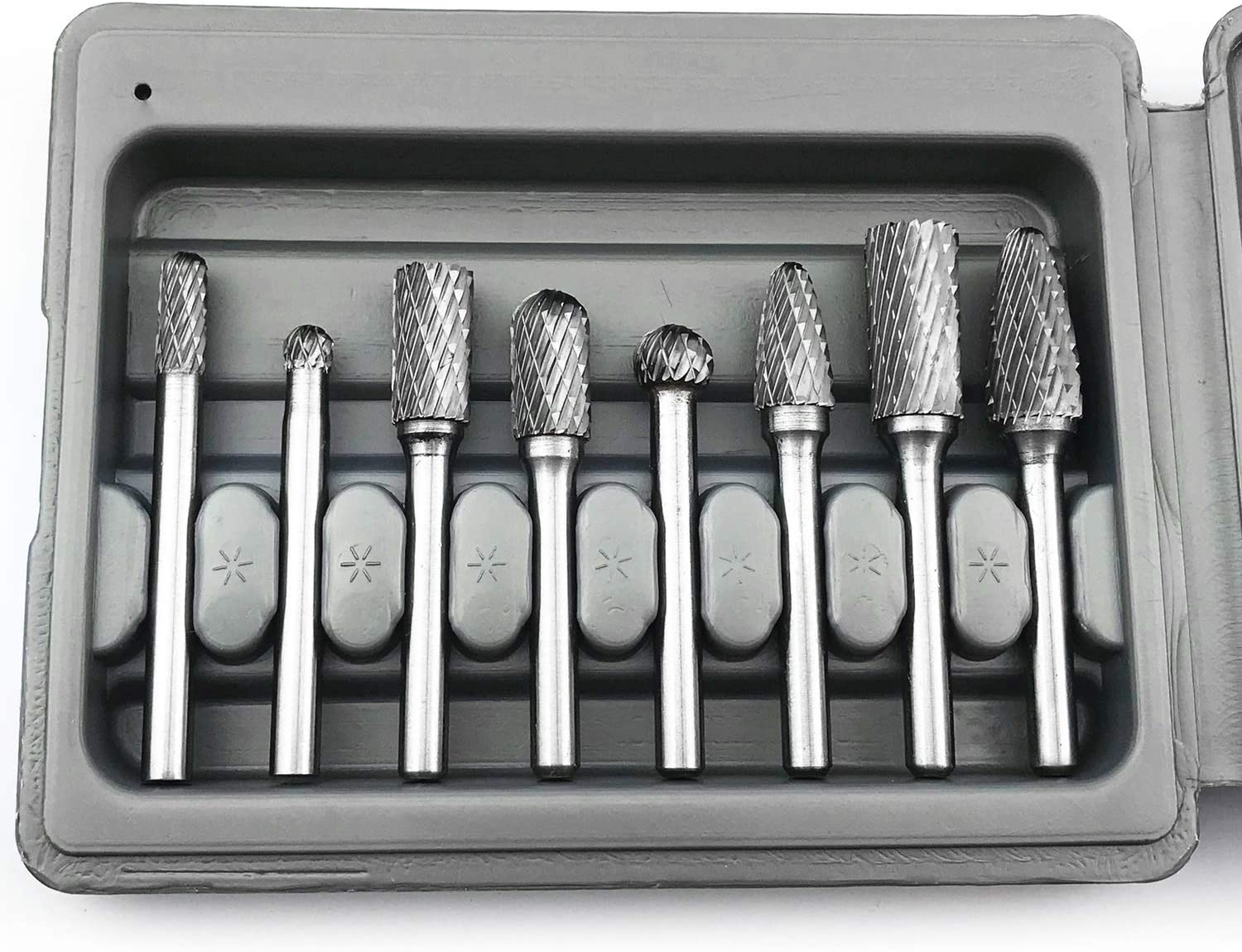 Tungsten Steel Rotary Bits for Marble Metal Wood Carving Engraving Polishing Drilling 10pcs Carbide Rotary Burr Bits Set 1//8/'/' Shank Double Cut Cutting Burr 1//4 Head Rotary Tool Accessories Kit
