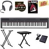Yamaha P-115 Digital Piano - Black Bundle with Stand, Bench, Headphones, Instructional Book, Austin Bazaar Instructional DVD, Polishing Cloth