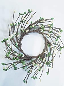 MerdCraft Green Apple & Cream Candle Ring Country Primitive Floral Décor - Light Green, Cream Pips - Perfect Candle Ring for 3