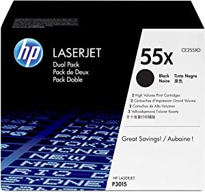 HP 55X | CE255XD | 2 Toner Cartridges | Black | High Yield