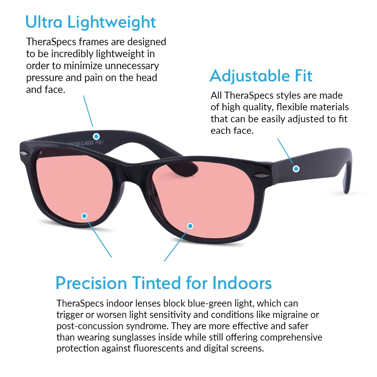 TheraSpecs Classic Migraine Glasses for Light Sensitivity, Photophobia and  Fluorescent Lights | Unisex