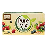 PURE VIA Stevia Sweetener Packets, Sugar Substitute, Natural Sweetener, Zero Calorie...