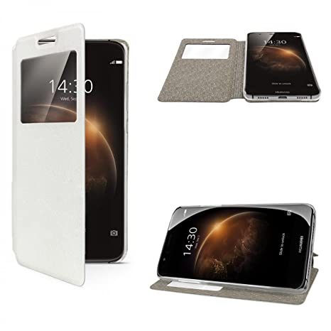 eFabrik Flip Cover Funda para Huawei G8/GX8 Case Carcasa Funda Smartphone Ventanas (con Funciones de protección), Color Blanco