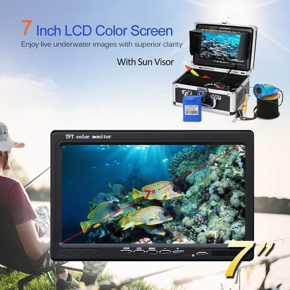Lixada Portable Moniteur /étanche Kit de Cam/éra de P/êche sous-Marine LED Fish Finder