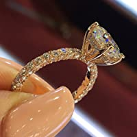 Yinew Fashion Women Ring Round Diamond Crystals Engagement/Wedding Ring Beautiful Jewelry Accessories,Rose Gold,Size 10