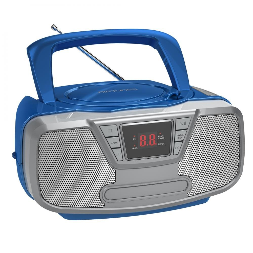 Riptunes Programmable CD Boombox- Portable Boombox, AM/FM Radio, with Bluetooth Blue CDB23BT