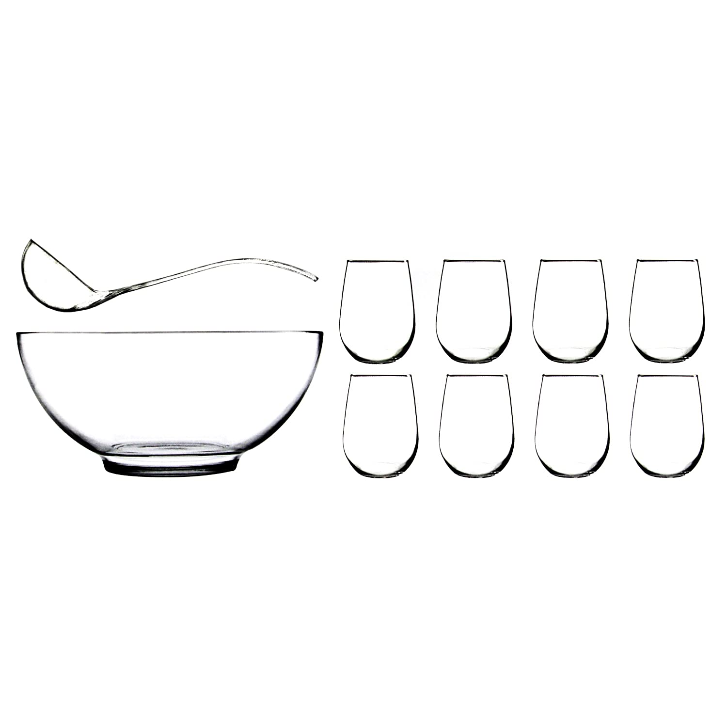 Anchor Hocking Presence 10 Piece Punch Bowl with Ladle and Glasses Set COMINHKPR29942