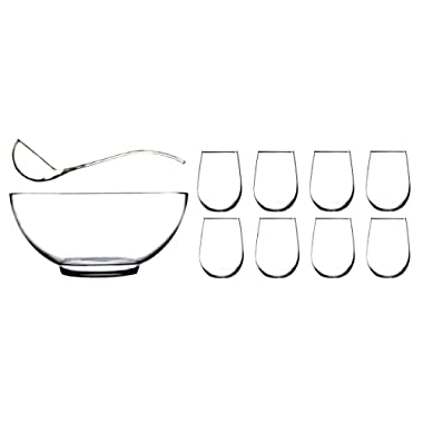 Anchor Hocking Presence 10 Piece Punch Bowl with Ladle and Glasses Set