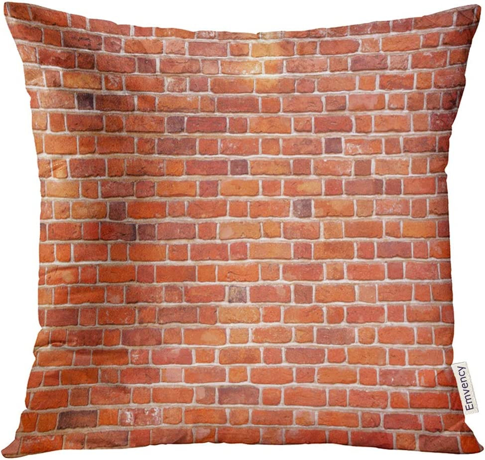 Amazon Com Emvency Throw Pillow Cover Brown Aged Red Brick Wall Architecture Decorative Pillow Case Home Decor Square 16x16 Inches Pillowcase Home Kitchen