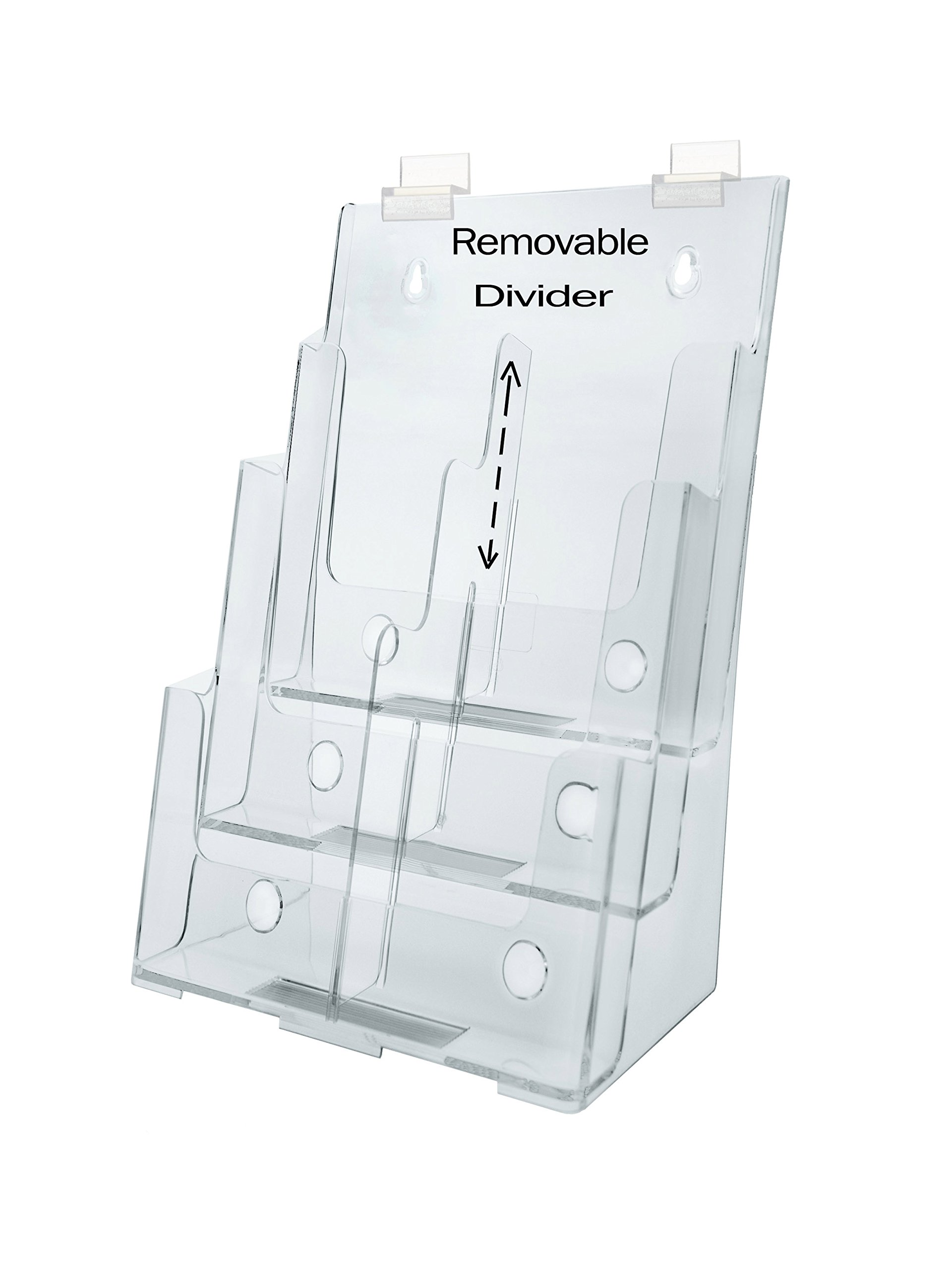 Marketing Holders Clear Acrylic 3-Tier Slatwall Brochure Holder for 8.5 Inch W Literature - Sold in Lots of 5