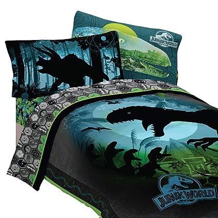 Jurassic World 5pc Full Comforter And Sheet Set Bedding Collection Blue,  Green, Dark Blue