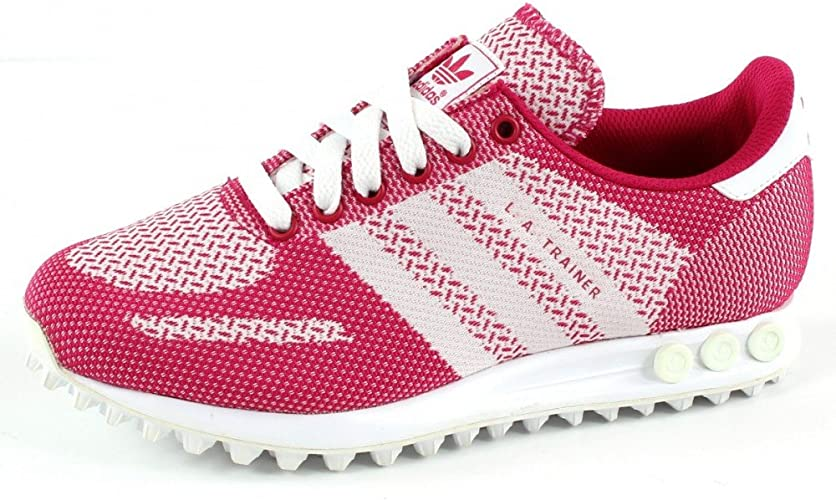adidas La Trainer Weave Sports Training Shoes Pink White: Amazon ...