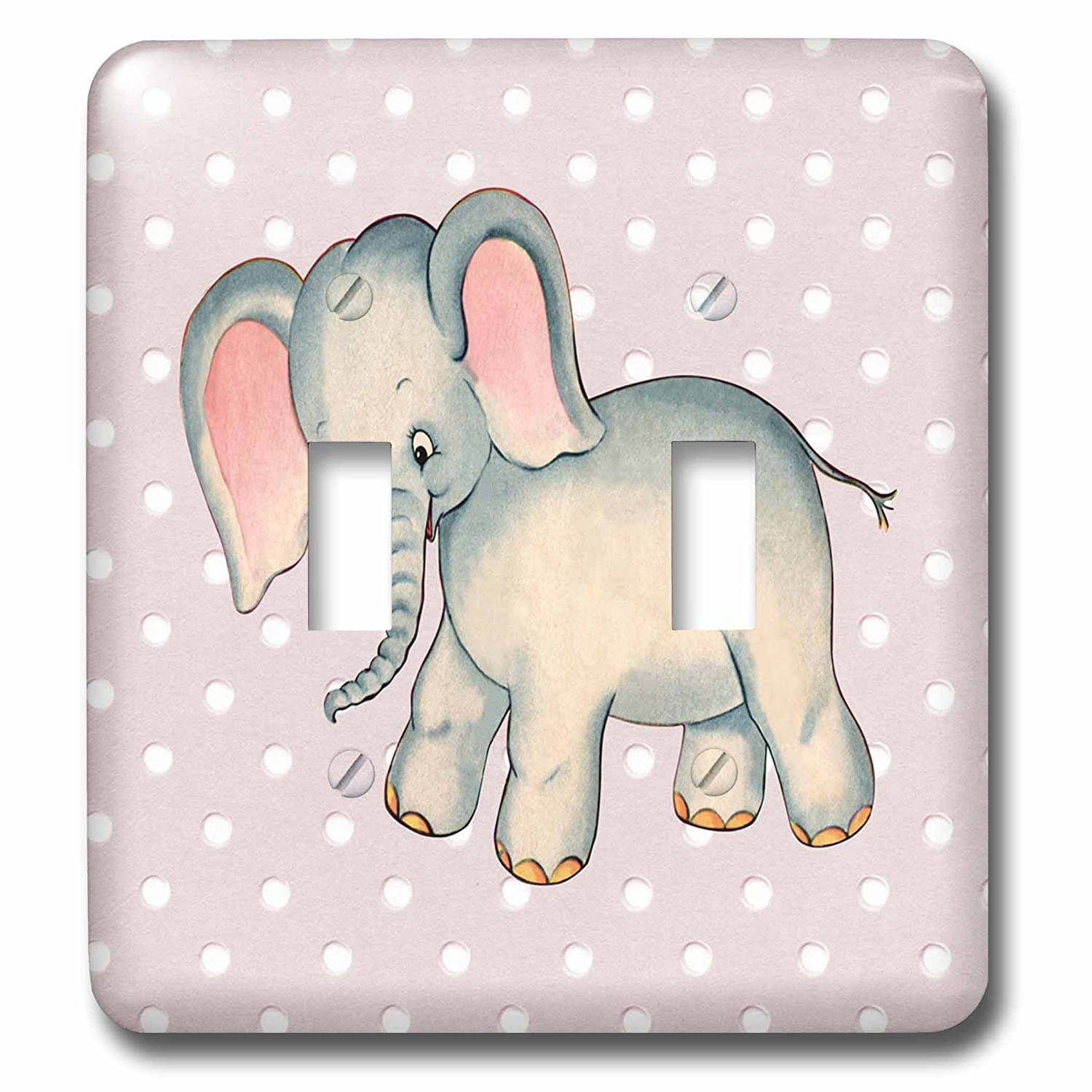 3D Rose LSP/_237077/_2 Image of Baby Retro Elephant On Pink Dots Double Toggle Switch