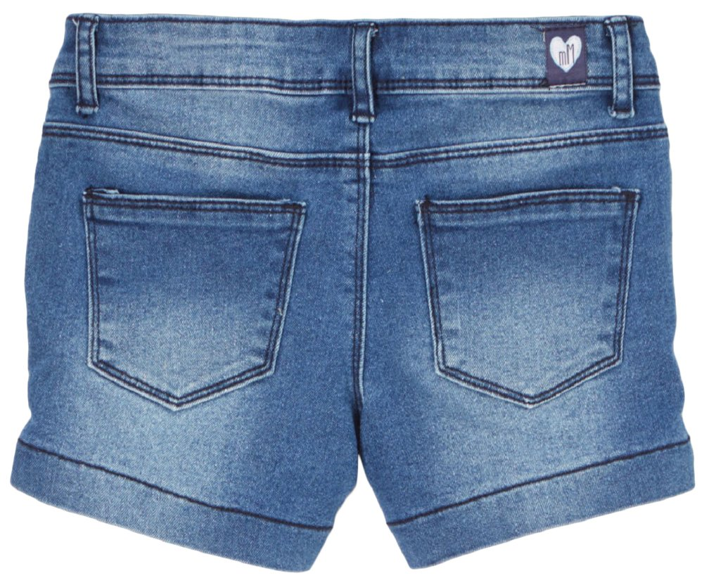 ToBeInStyle Girl's Denim Mini Shorts - Stitched Rip Pattern - 7 by ToBeInStyle (Image #2)