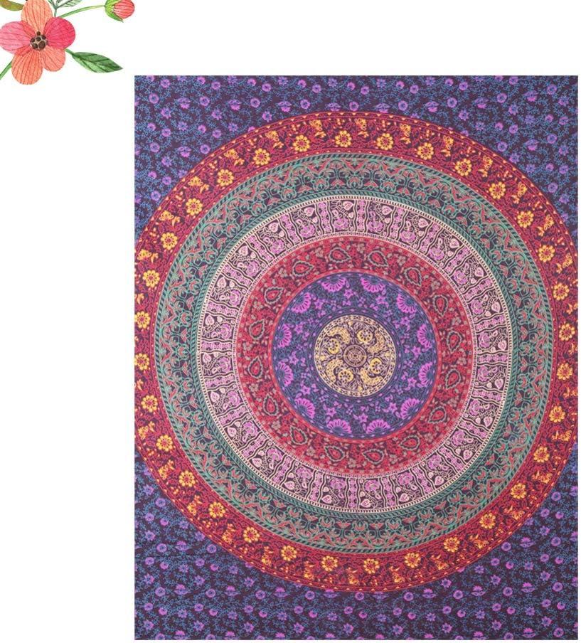 VOSAREA Mandala Tapestry Wall Hanging Bohemian Room Decor Bedding Rug Hippy Blanket Beach Throw Wall Hanging Bedding Tapestry