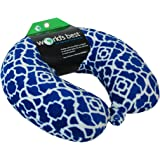 World's Best Feather Soft Microfiber Neck Pillow, Cobalt Blue Trellis