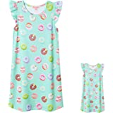 """Matching Girls & 18"""" Dolls Nightgown Unicorn Nightdress Sleepwear Pajamas"""