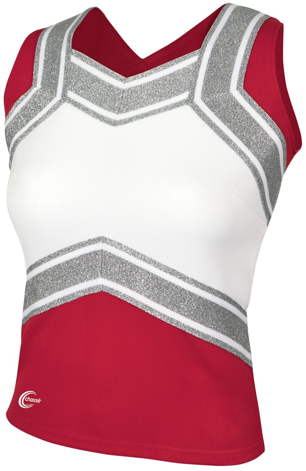 Chassé Girls' Blaze Shell Top Red/White/Metallic Silver Youth X-Small