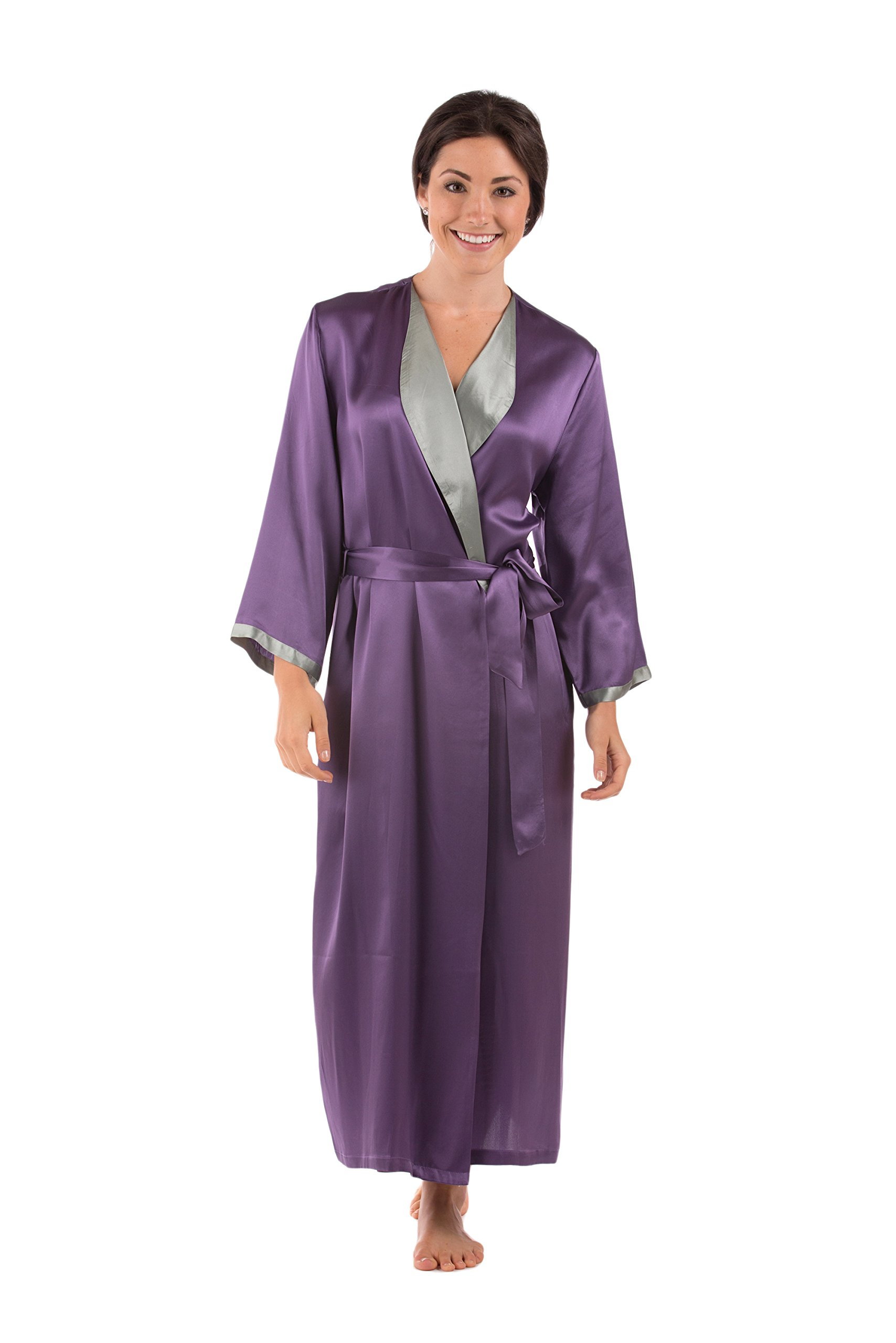 TexereSilk Women's Luxury Long Silk Bathrobe (Grape, Large/X-Large) Mother's Day Gift Suggestions WS0102-GRP-LXL