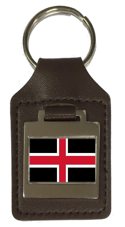 Leather Keyring Engraved Durham City England Flag