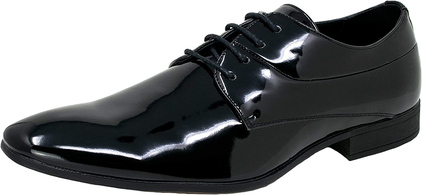 TALLA 42 EU. Smokies Hombres Zapato de Novia Oliver sintético Zapato para Smoking de Laca con Forro de Piel (EU,)