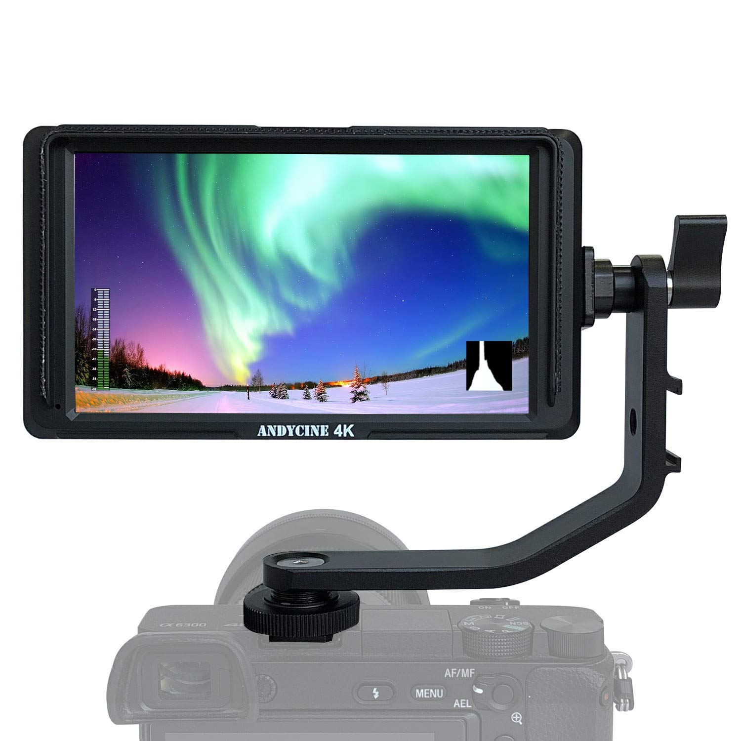 ANDYCINE A6 Lite On Camera Field Monitor 5 Inch Full HD IPS 1920x1080 DSLR Video Peaking Focus Assist with 4K Input Output HDMI 8.4V DC Included Battery/Charger Tilt Arm