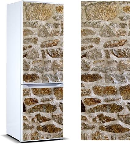 Pegatinas Vinilo para Frigorífico Revestimiento mamposteria de Piedra Irregular   Varias Medidas 185x70cm   Adhesivo Resistente y de Fácil Aplicación   Pegatina Adhesiva Decorativa de Diseño Elegante: Amazon.es: Hogar