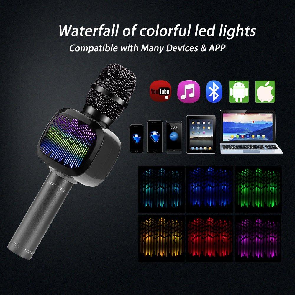 BONAOK Micrófono inalámbrico de Karaoke con doble costura, luces LED, altavoz portátil de mano para iPhone, Android, todos los smartphones, al aire libre, ...