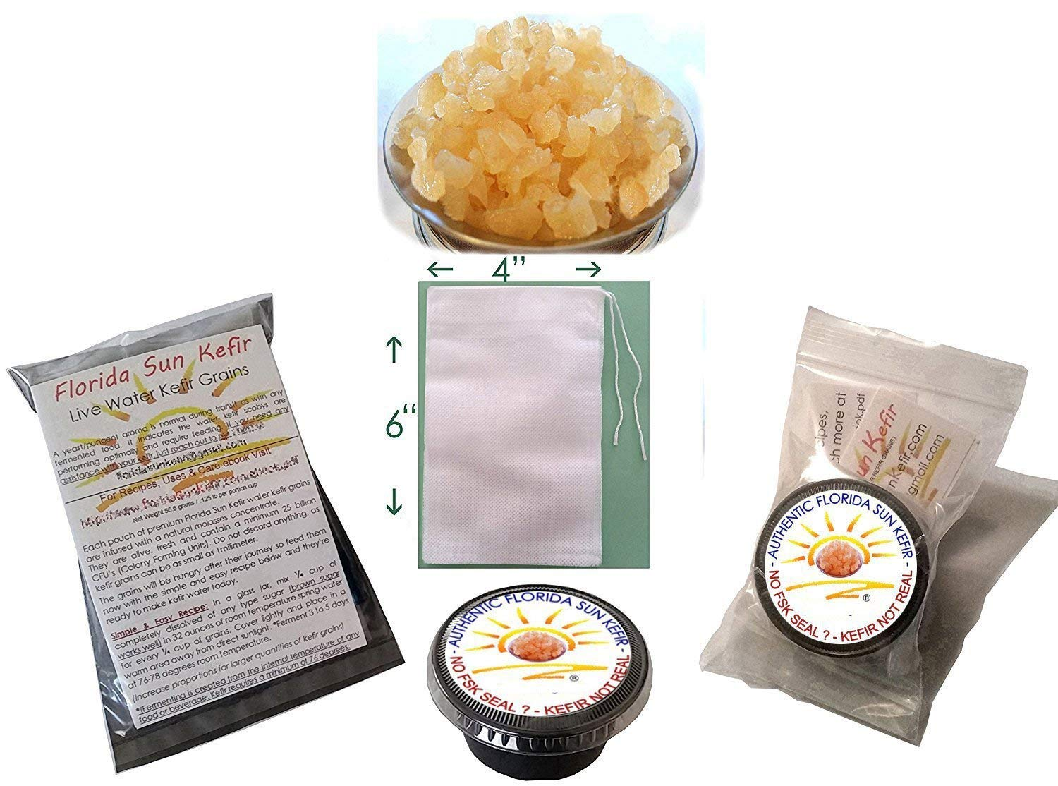 Live, Organic Water Kefir Grains and Detailed Instruction Manual (.pdf)