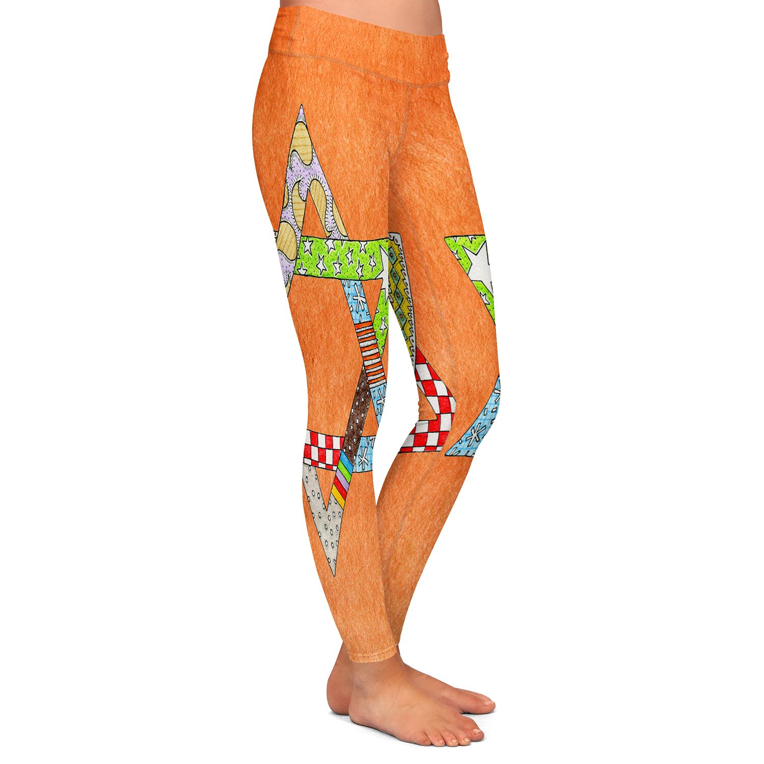 Star of David Orange Athletic Yoga Leggings from DiaNoche Designs by Marley Ungaro