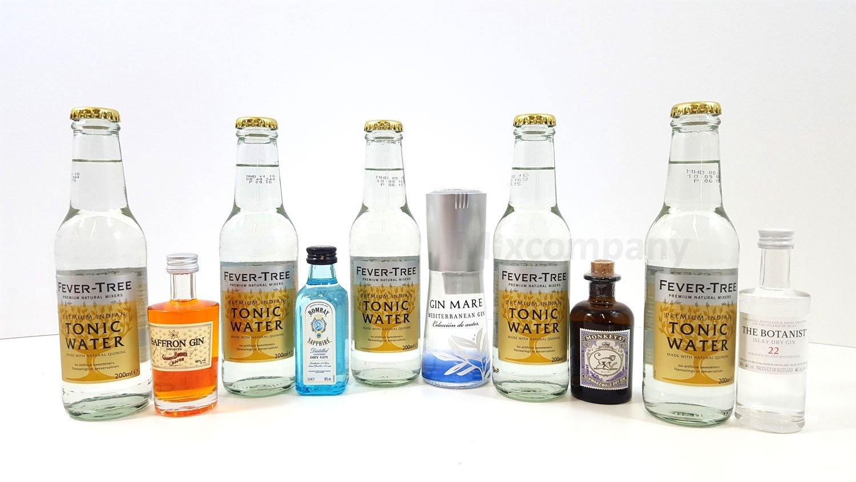 Gin Tonic Probierset - 5x Verschiedene Gin Sorten je 5cl + 5x Fever ...