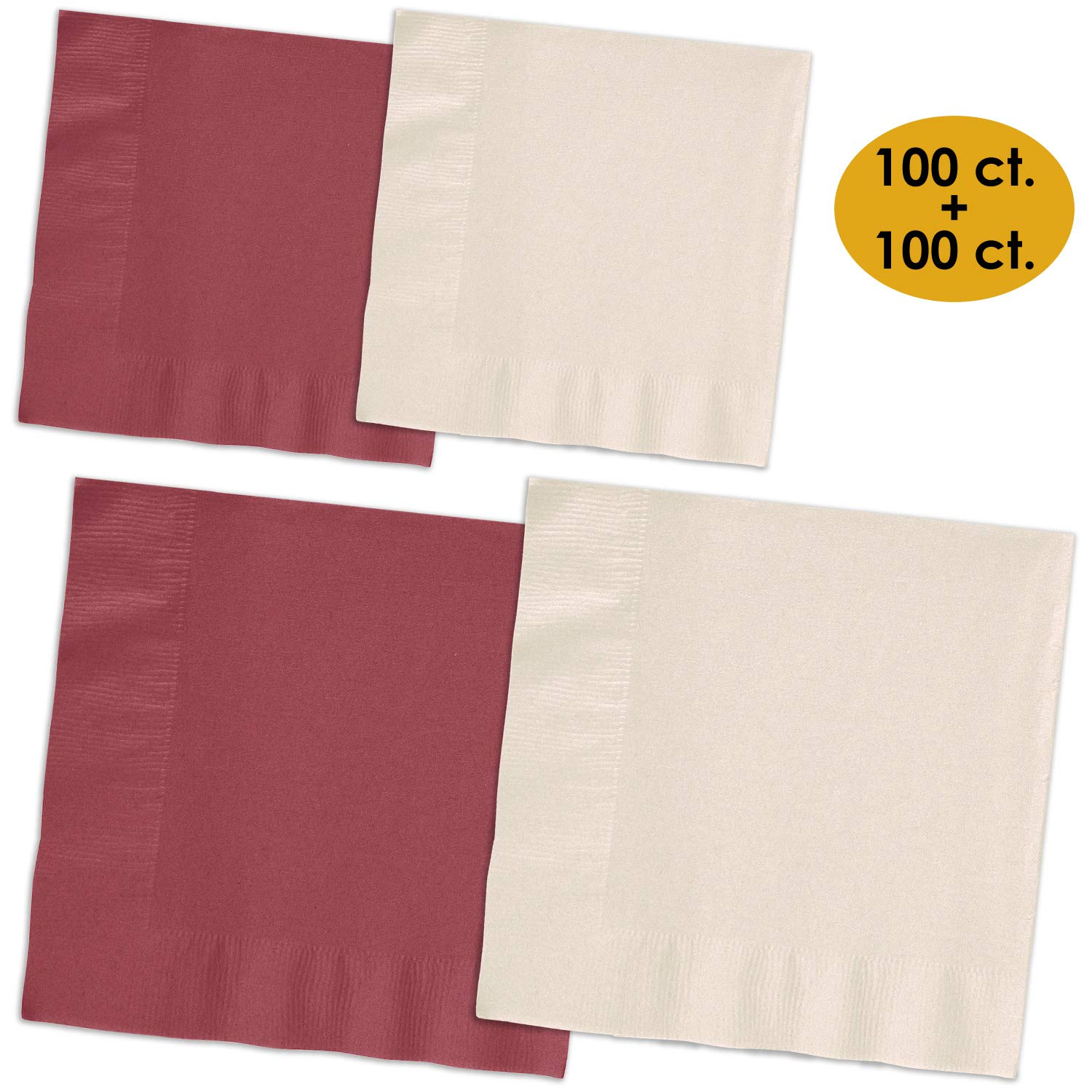 200 Napkins - Burgundy & Ivory - 100 Beverage Napkins + 100 Luncheon Napkins, 2-Ply, 50 Per Color Per Type by HeroFiber