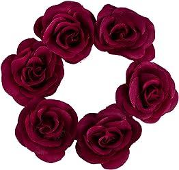 SIX Haargummi: Haarschmuck mit roten Textil-Rosen, perfekt für den Dutt, fester Halt, ideal für Hochsteckfrisuren, für festliche Anlässe, ro (485-311)