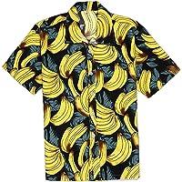 EElabper Camisa hawaiana de manga corta con estampado de plátano para hombre
