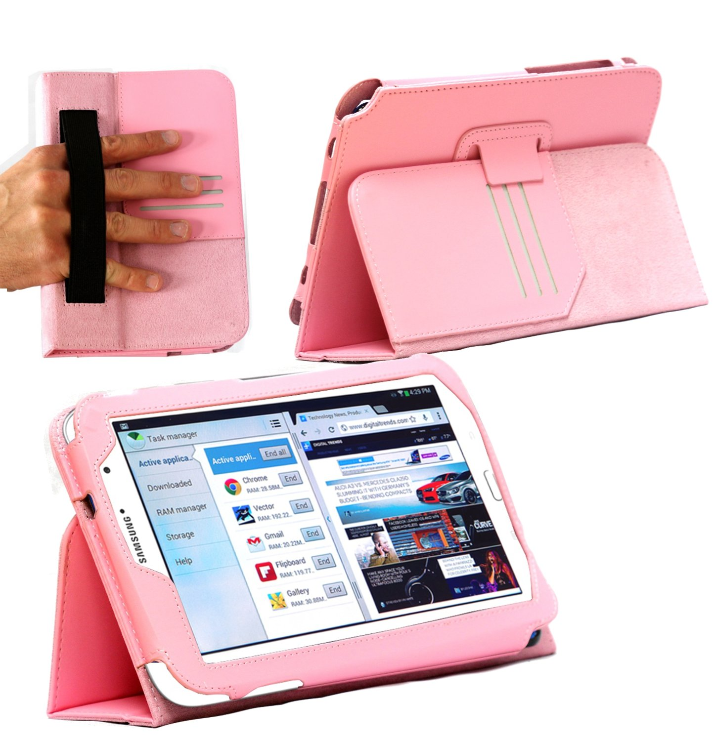 f96f91273fd Amazon.com: MiTAB Bicast Leather Case Cover With Stand & Hand strap For The  Samsung Galaxy Note 8.0 N5100 / N5110 Tablet Phone (Pink): Computers & ...