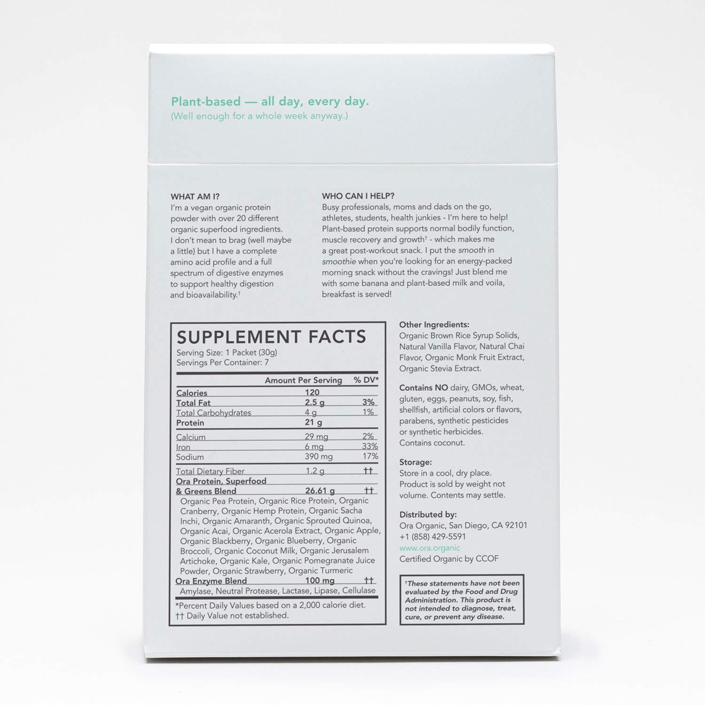 Ora Organic Plant-Based Protein Powder - So Lean and So Clean Vanilla Chai  (7 Sachets))