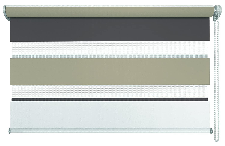 Mydeco® Duo-Rollo Fensterrollo Klemmfix ohne Bohren, Farbe Triple  Weiß, Cappuccino, Mocca 80 x 210 cm Seitenzugrollo Doppelrollo inkl. Klemmträger
