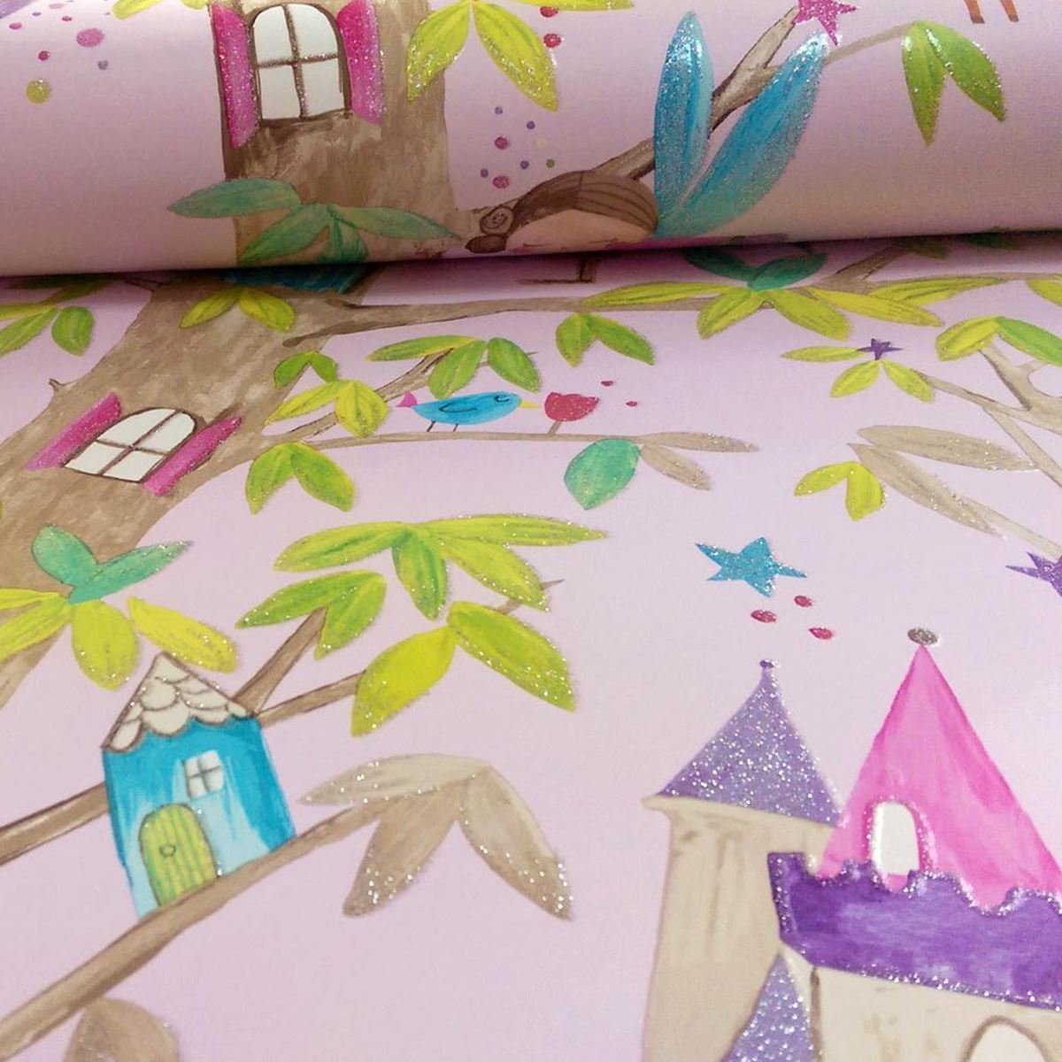 Girls Woodland Fairies Pink Glitter Wallpaper Arthouse Floral