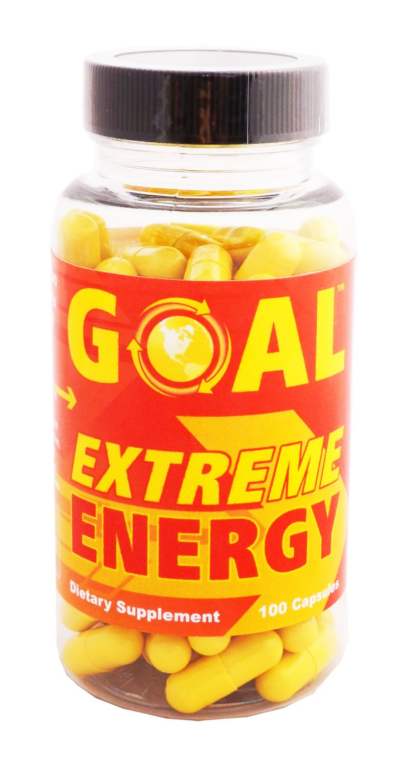 GOAL Extreme Energy Pills 100 Capsules - Best Natural Energy Vitamins - Breakthrough Weight Loss Pills - Energy Booster Supplement Capsules for Women and Men - Fat Burners Diet Pills That Work Fast by GOAL