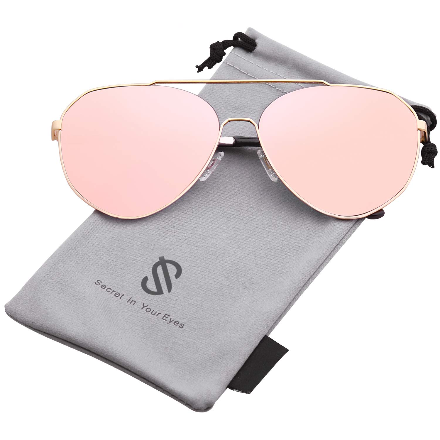 SOJOS Oversized Aviator Sunglasses Mirrored Flat Lens for Men Women UV400 SJ1083 with Gold Frame/Pink Mirrored Lens by SOJOS