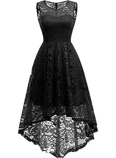 fd480bfe2 MuaDress Vestido Cóctel Vintage A-línea Hi-Lo Elegante Mujer Flor Encaje  Vestidos De
